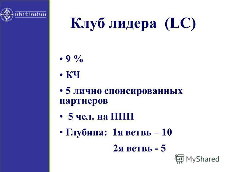 Клуб лидера (LC) 9 % КЧ 5 личноо спонсированних партнеров 5 чел. на ППП Глубина: 1 я ветвь – 10 2 я ветвь - 5