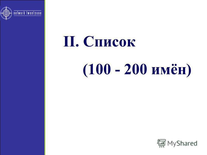 II. Список (100 - 200 имён)