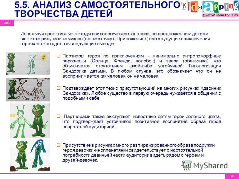 2005 50 Используя проективные методы психологического анализа, по предложенным детьми сюжетам рисунков-комиксов (см. карточку в Приложениях) про «будущие приключения героя» можно сделать следующие выводы: Партнеры героя по приключениям - минимально а
