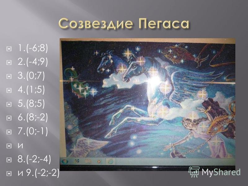 1.(-6;8) 2.(-4;9) 3.(0;7) 4.(1;5) 5.(8;5) 6.(8;-2) 7.(0;-1) и 8.(-2;-4) и 9.(-2;-2)