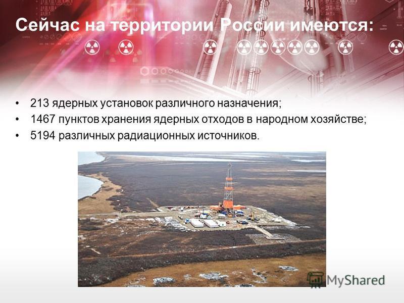 Сейчас на территории России имеются: 213 ядерных установок различного назначения; 1467 пунктов хранения ядерных отходов в народном хозяйстве; 5194 различных радиационных источников.