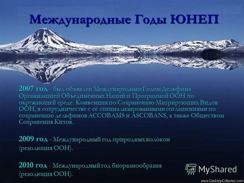 Международные Годы ЮНЕП 2007 год - был объявлен Международным Годом Дельфина Организацией Объединённых Наций и Программой ООН по окружающей среде. Конвенция по Сохранению Мигрирующих Видов ООН, в сотрудничестве с её специализированными соглашениями п