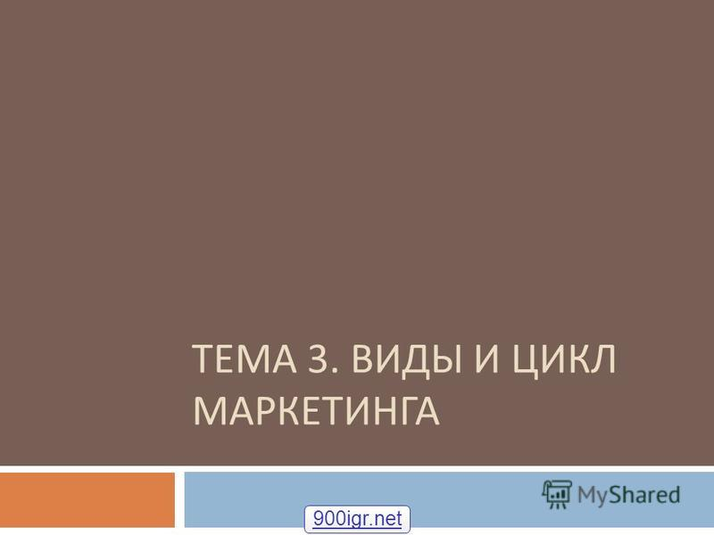ТЕМА 3. ВИДЫ И ЦИКЛ МАРКЕТИНГА 900igr.net