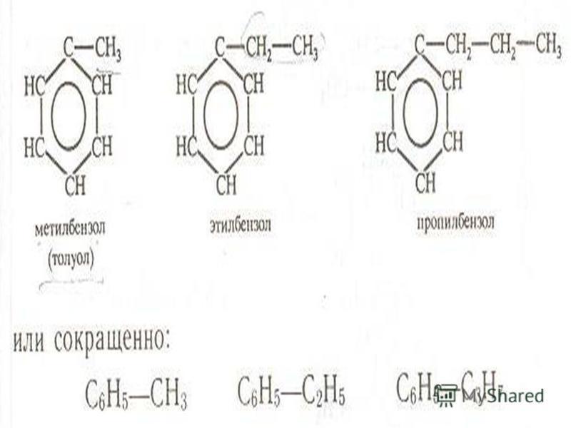 Напишите формулы: Метилбензола Этилбензола Пропилбензола