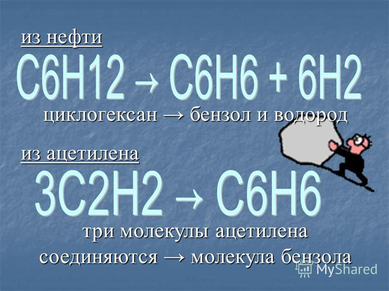 Получение бензола из нефти циклогексан бензол и водород из ацетилена три молекулы ацетилена соединяются молекула бензола