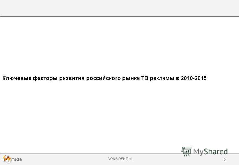 CONFIDENTIAL Ключевые факторы развития российского рынка ТВ рекламы в 2010-2015 2