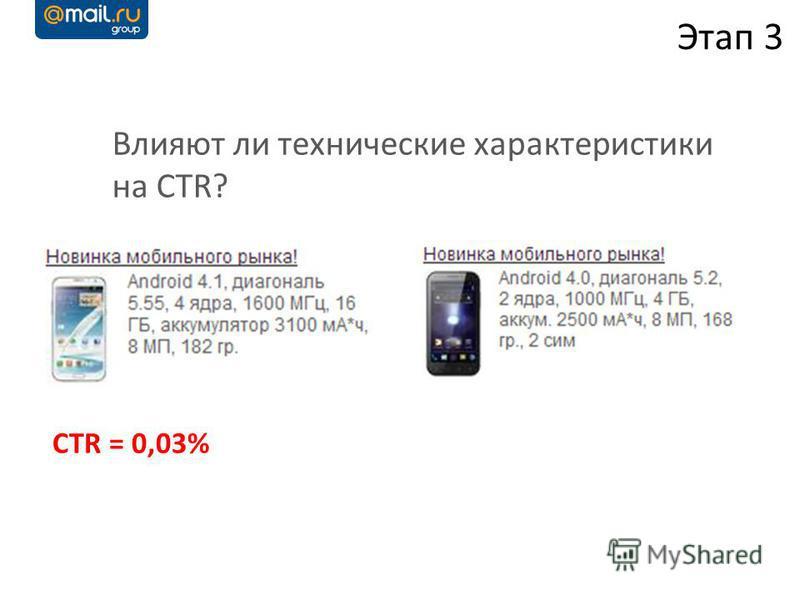 Влияют ли технические характеристики на CTR? Этап 3 CTR = 0,03%