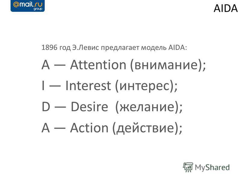 AIDA 1896 год Э.Левис предлагает модель AIDA: A Attention (внимание); I Interest (интерес); D Desire (желание); A Action (действие);