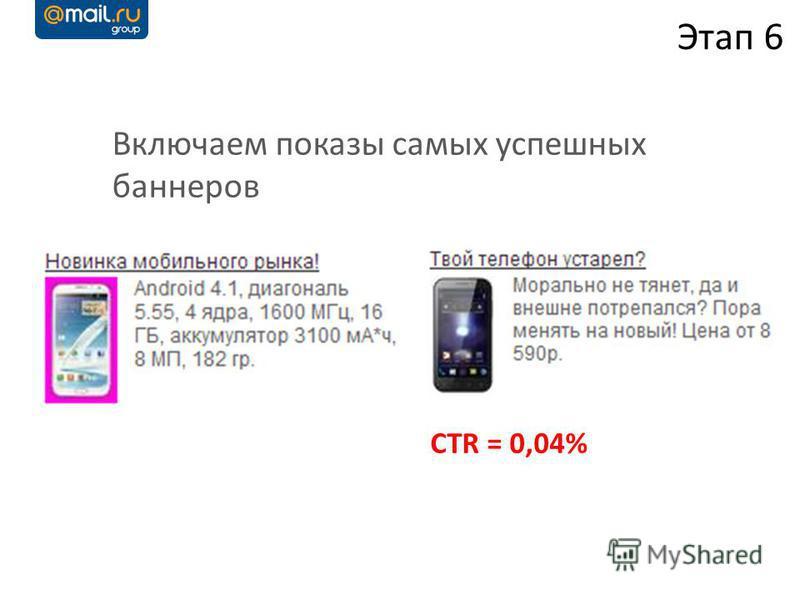 Включаем показы самых успешных баннеров Этап 6 CTR = 0,04%