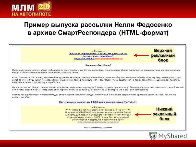 Пример выпуска рассылки Нелли Федосенко в архиве Смарт Респондера (HTML-формат)
