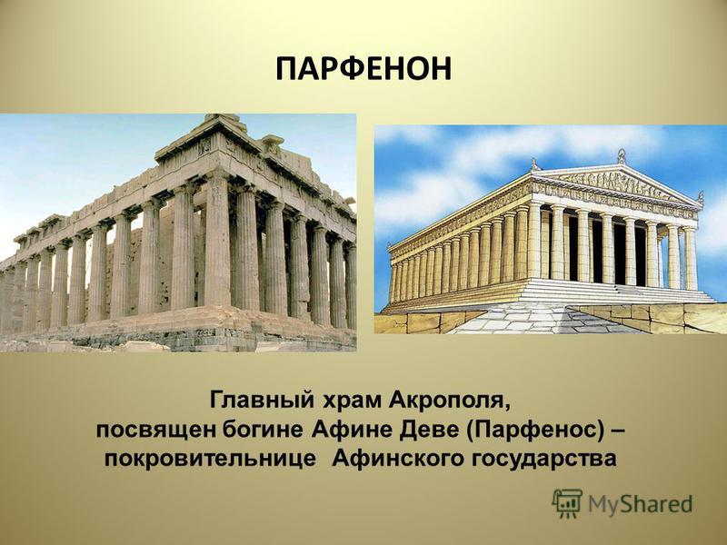 ПАРФЕНОН Главный храм Акрополя, посвящен богине Афине Деве (Парфенос) – покровительнице Афинского государства