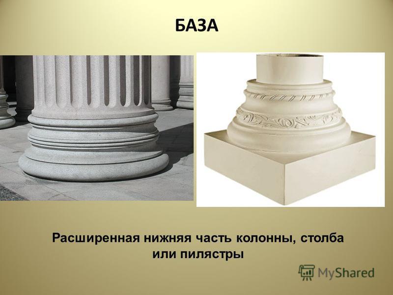 БАЗА Расширенная нижняя часть колонны, столба или пилястры