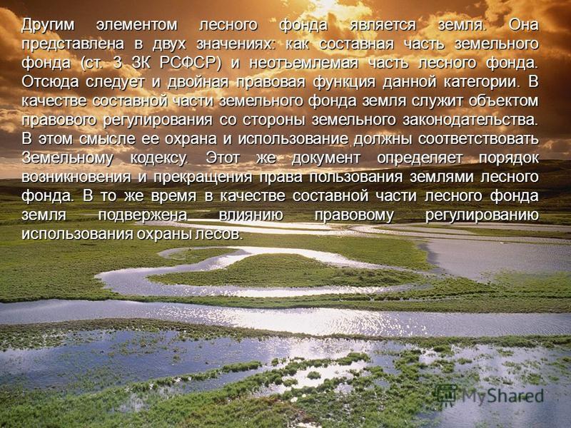 Другим элементом лесного фонда является земля. Она представлена в двух значениях: как составная часть земельного фонда (ст. 3 ЗК РСФСР) и неотъемлемая часть лесного фонда. Отсюда следует и двойная правовая функция данной категории. В качестве составн
