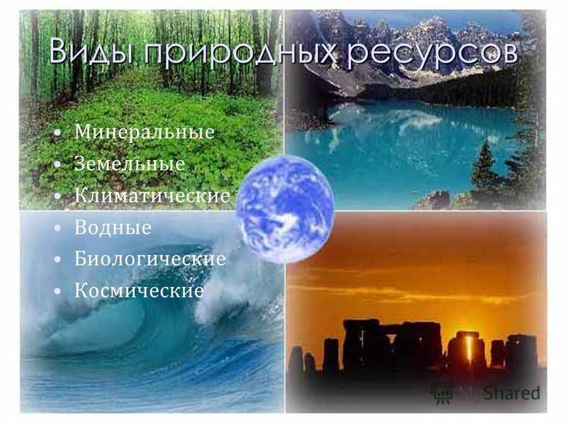 Виды природных ресурсов Минеральные Земельные Климатические Водные Биологические Космические