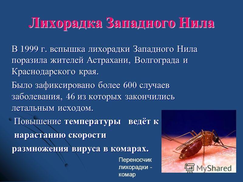 В 1999 г. вспышка лихорадки Западного Нила поразила жителей Астрахани, Волгограда и Краснодарского края. Было зафиксировано более 600 случаев заболевания, 46 из которых закончились летальным исходом. Было зафиксировано более 600 случаев заболевания,