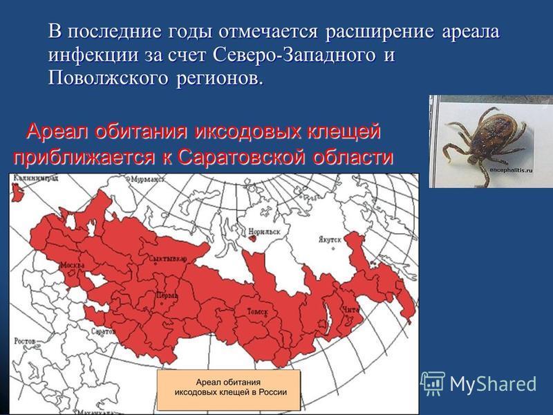 Ареал обитания иксодовых клещей приближается к Саратовской области В последние годы отмечается расширение ареала инфекции за счет Северо - Западного и Поволжского регионов.