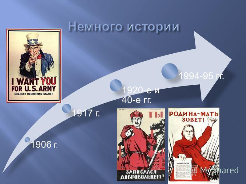 1906 г. 1917 г. 1920-е и 40-е гг. 1994-95 гг.
