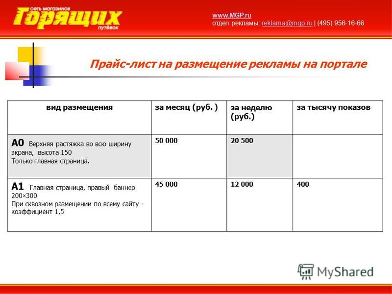 Прайс-лист на размещение рекламы на портале www.MGP.ru отдел рекламы: reklama@mgp.ru | (495) 956-16-66reklama@mgp.ru вид размещения за месяц (руб. )за неделю (руб.) за тысячу показов A0 Верхняя растяжка во всю ширину экрана, высота 150 Только главная