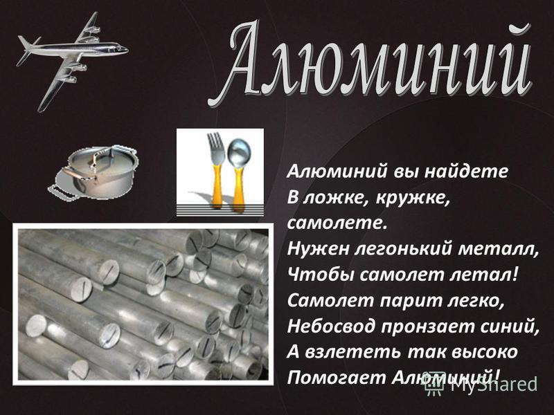 Алюминий вы найдете В ложке, кружке, самолете. Нужен легонький металл, Чтобы самолет летал! Самолет парит легко, Небосвод пронзает синий, А взлететь так высоко Помогает Алюминий!