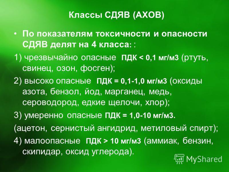 Классы СДЯВ (АХОВ) По показателям токсичности и опасности СДЯВ делят на 4 класса : : 1) чрезвычайно опасные ПДК < 0,1 мг/м 3 (ртуть, свинец, озон, фосген); 2) высоко опасные ПДК = 0,1-1,0 мг/м 3 (оксиды азота, бензол, йод, марганец, медь, сероводород