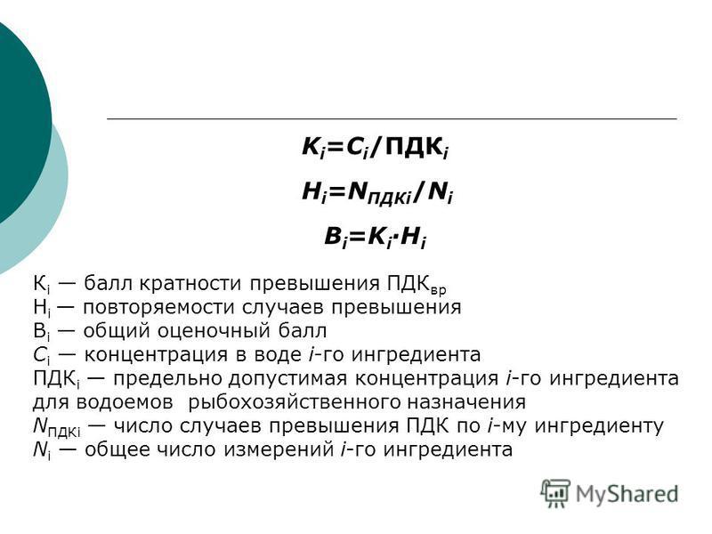 K i =C i /ПДК i H i =N ПДКi /N i B i =K i ·H i К i балл кратности превышения ПДК вр Н i повторяемости случаев превышения B i общий оценочный балл С i концентрация в воде i-го ингредиента ПДК i предельно допустимая концентрация i-го ингредиента для во