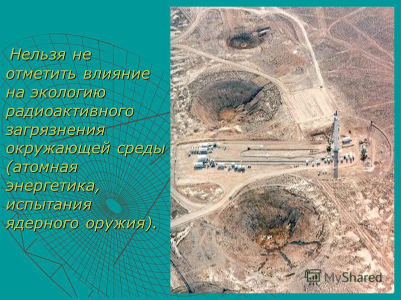 Нельзя не отметить влияние на экологию радиоактивного загрязнения окружающей среды (атомная энергетика, испытания ядерного оружия). Нельзя не отметить влияние на экологию радиоактивного загрязнения окружающей среды (атомная энергетика, испытания ядер