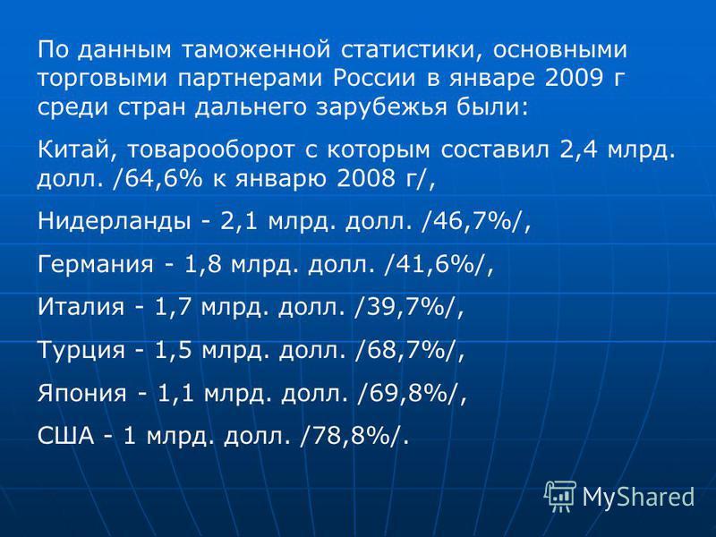 По данным таможенной статистики, основными торговыми партнерами России в январе 2009 г среди стран дальнего зарубежья были: Китай, товарооборот с которым составил 2,4 млрд. долл. /64,6% к январю 2008 г/, Нидерланды - 2,1 млрд. долл. /46,7%/, Германия