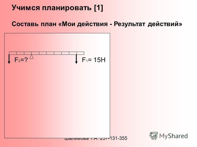 Учимся планировать [1] Составь план «Мои действия - Результат действий» Шалимова Т.А. 257-131-355 1. Вспомнить способ нахождения силы 2. Перечислить величины, входящие в формулу 3. Выделить математические действия 4. Найти величину 5. Записать ответ