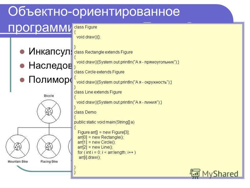 Объектно-ориентированное программирование… Помню? Инкапсуляция Наследование Полиморфизм Figure CircleRectangleLine class Figure { void draw(){}; } class Rectangle extends Figure { void draw(){System.out.println(