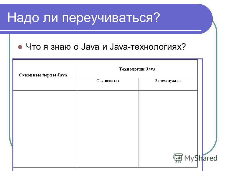 Надо ли переучиваться? Что я знаю о Java и Java-технологиях?