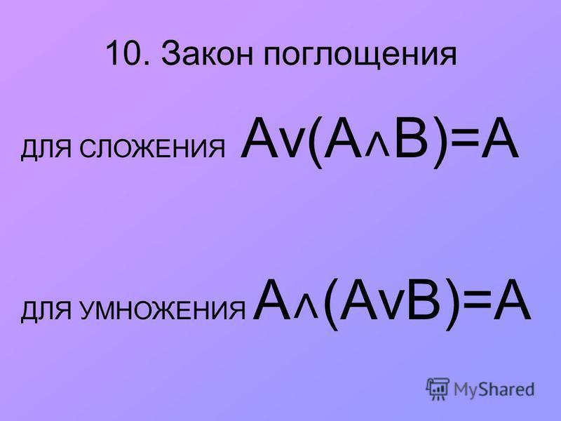 10. Закон поглощения ДЛЯ СЛОЖЕНИЯ Аv(А ˄ В)=А ДЛЯ УМНОЖЕНИЯ A ˄ (АvВ)=А