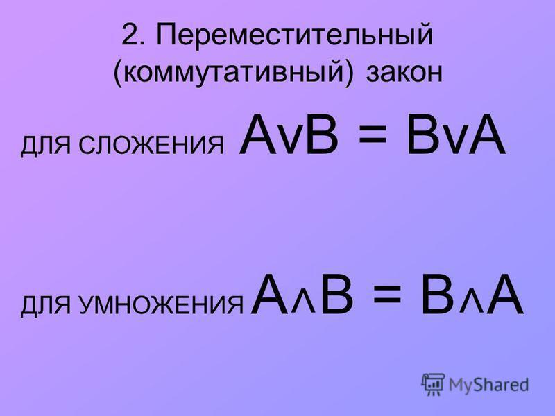 2. Переместительный (коммутативный) закон ДЛЯ СЛОЖЕНИЯ АvВ = ВvА ДЛЯ УМНОЖЕНИЯ A ˄ B = B ˄ A