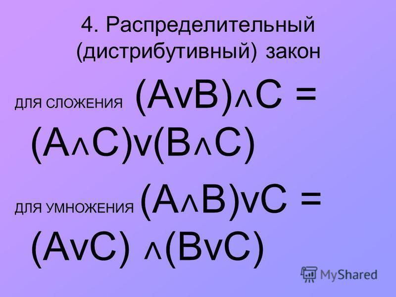 4. Распределительный (дистрибутивный) закон ДЛЯ СЛОЖЕНИЯ (АvВ) ˄ С = (А ˄ С)v(В ˄ С) ДЛЯ УМНОЖЕНИЯ (A ˄ B)vС = (АvС) ˄ (BvС)