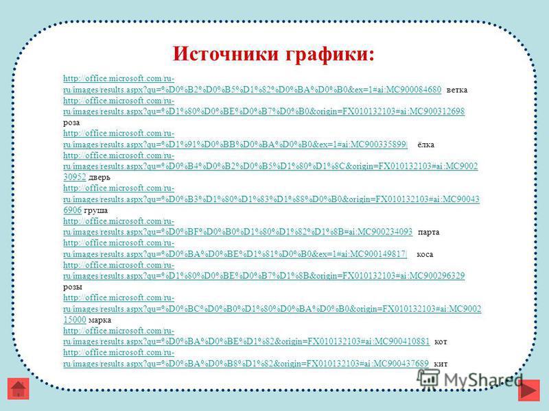 Источники графики: http://office.microsoft.com/ru- ru/images/results.aspx?qu=%D0%B2%D0%B5%D1%82%D0%BA%D0%B0&ex=1#ai:MC900084680http://office.microsoft.com/ru- ru/images/results.aspx?qu=%D0%B2%D0%B5%D1%82%D0%BA%D0%B0&ex=1#ai:MC900084680 ветка http://o