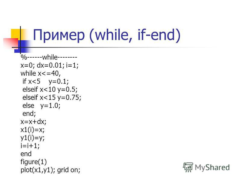 Пример (while, if-end) %------while-------- x=0; dx=0.01; i=1; while x<=40, if x<5 y=0.1; elseif x<10 y=0.5; elseif x<15 y=0.75; else y=1.0; end; x=x+dx; x1(i)=x; y1(i)=y; i=i+1; end figure(1) plot(x1,y1); grid on;