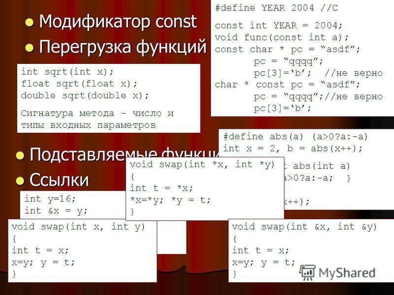 Модификатор const Модификатор const Перегрузка функций Перегрузка функций #define YEAR 2004 //C const int YEAR = 2004; void func(const int a); const char * pc = asdf; pc = qqqq; pc[3]=b; //не верно char * const pc = asdf; pc = qqqq;//не верно pc[3]=b