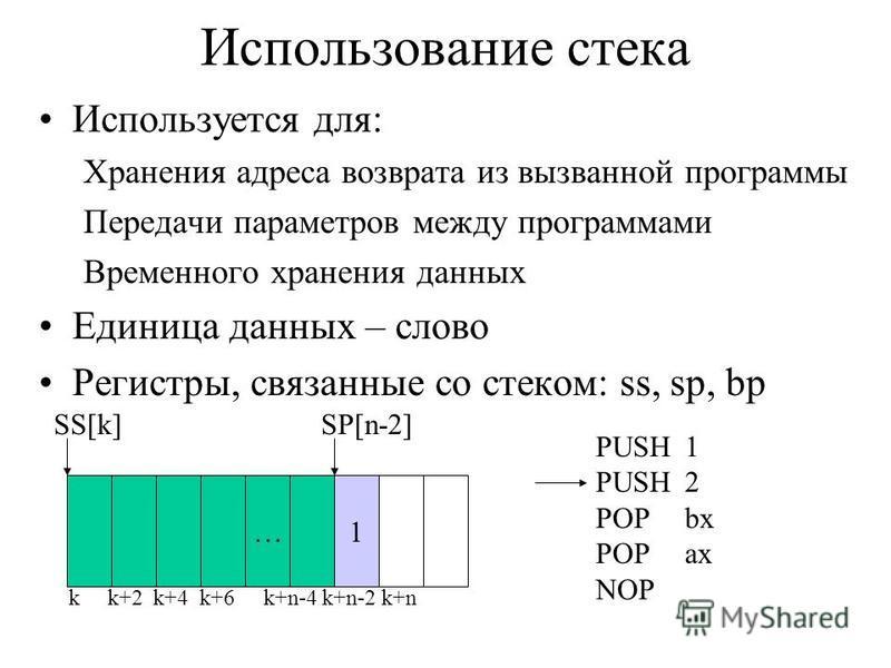 Использование стека Используется для: Хранения адреса возврата из вызванной программы Передачи параметров между программами Временного хранения данных Единица данных – слово Регистры, связанные со стеком: ss, sp, bp … k k+2 k+4 k+6 k+n-4 k+n-2 k+n 1