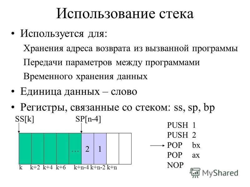 Использование стека Используется для: Хранения адреса возврата из вызванной программы Передачи параметров между программами Временного хранения данных Единица данных – слово Регистры, связанные со стеком: ss, sp, bp … k k+2 k+4 k+6 k+n-4 k+n-2 k+n 21