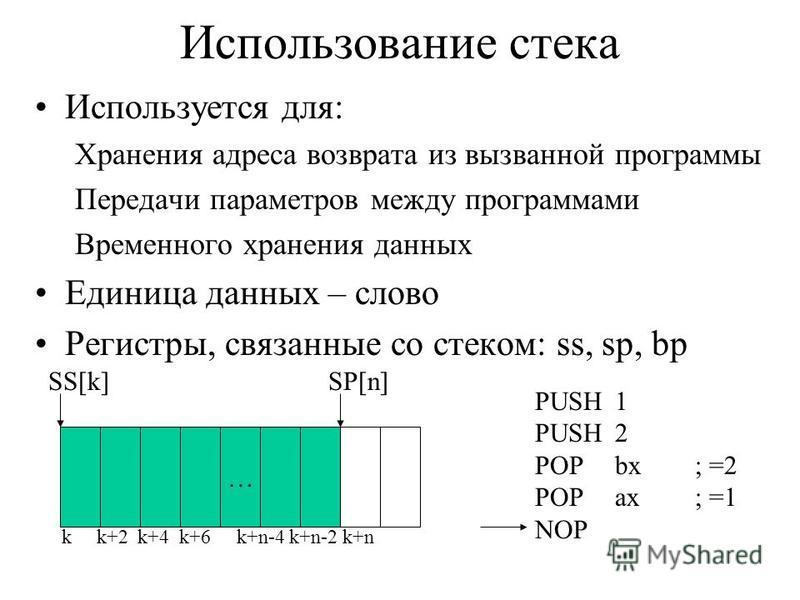 Использование стека Используется для: Хранения адреса возврата из вызванной программы Передачи параметров между программами Временного хранения данных Единица данных – слово Регистры, связанные со стеком: ss, sp, bp … k k+2 k+4 k+6 k+n-4 k+n-2 k+n SS