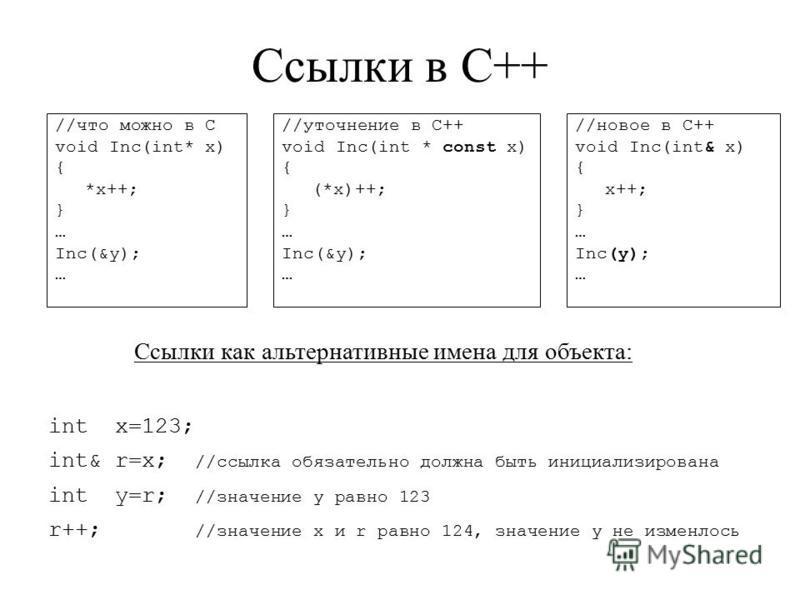 Ссылки в С++ //что можно в С void Inc(int* x) { *x++; } … Inc(&y); … //новое в C++ void Inc(int& x) { x++; } … Inc(y); … Ссылки как альтернативные имена для объекта: int x=123; int& r=x; //ссылка обязательно должна быть инициализирована int y=r; //зн