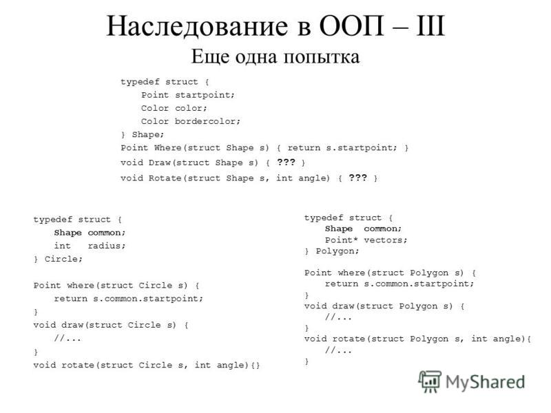 Наследование в ООП – III Еще одна попытка typedef struct { Shape common; Point* vectors; } Polygon; Point where(struct Polygon s) { return s.common.startpoint; } void draw(struct Polygon s) { //... } void rotate(struct Polygon s, int angle){ //... }