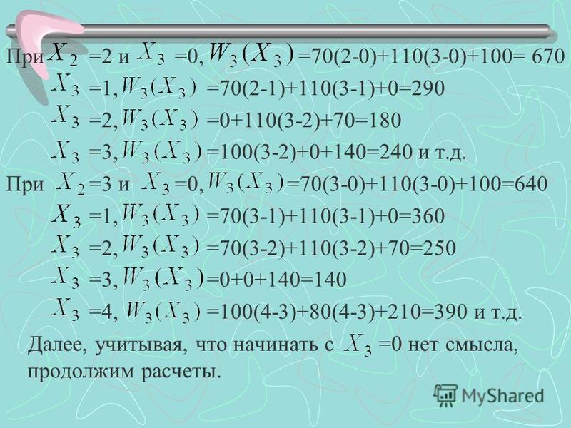 При =2 и =0, =70(2-0)+110(3-0)+100= 670 =1, =70(2-1)+110(3-1)+0=290 =2, =0+110(3-2)+70=180 =3, =100(3-2)+0+140=240 и т.д. При =3 и =0, =70(3-0)+110(3-0)+100=640 =1, =70(3-1)+110(3-1)+0=360 =2, =70(3-2)+110(3-2)+70=250 =3, =0+0+140=140 =4, =100(4-3)+8