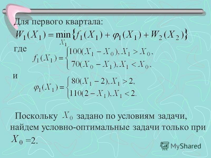 Для первого квартала: где и Поскольку задано по условиям задачи, найдем условно-оптимальные задачи только при =2.