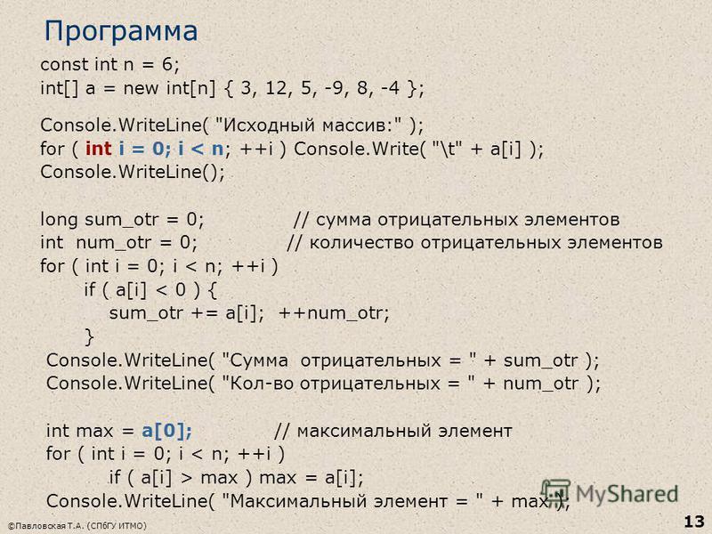 ©Павловская Т.А. (СПбГУ ИТМО) 13 Программа const int n = 6; int[] a = new int[n] { 3, 12, 5, -9, 8, -4 }; Console.WriteLine(
