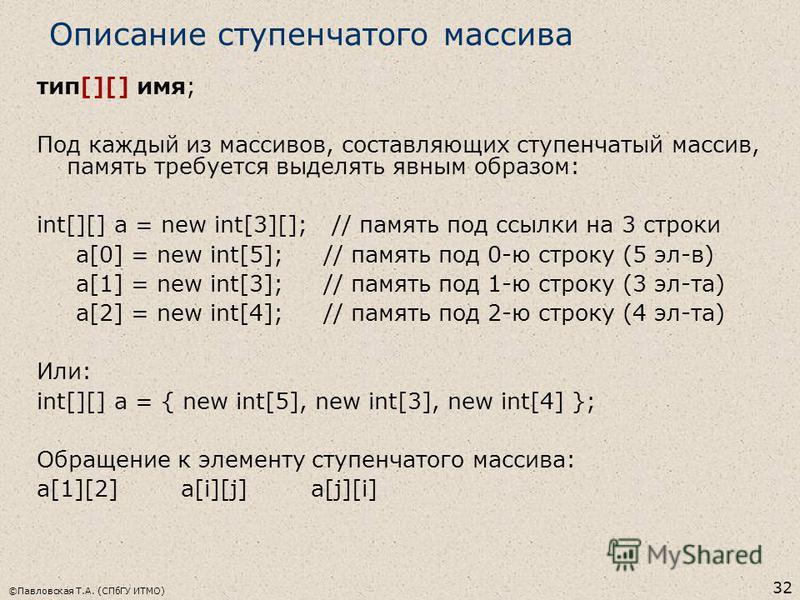 ©Павловская Т.А. (СПбГУ ИТМО) 32 Описание ступенчатого массива тип[][] имя; Под каждый из массивов, составляющих ступенчатый массив, память требуется выделять явным образом: int[][] a = new int[3][]; // память под ссылки на 3 строки a[0] = new int[5]