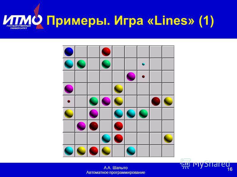 16 А.А. Шалыто Автоматное программирование Примеры. Игра «Lines» (1)