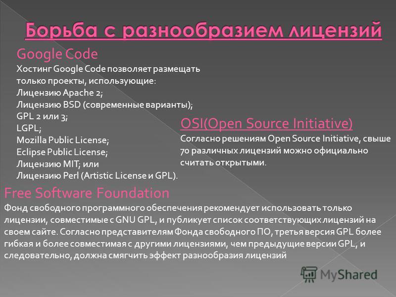 Google Code Хостинг Google Code позволяет размещать только проекты, использующие: Лицензию Apache 2; Лицензию BSD (современные варианты); GPL 2 или 3; LGPL; Mozilla Public License; Eclipse Public License; Лицензию MIT; или Лицензию Perl (Artistic Lic