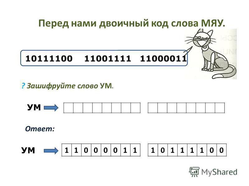 Перед нами двоичный код слова МЯУ. 10111100 11001111 11000011 ? Зашифруйте слово УМ. Ответ: УМ 1100001110111100