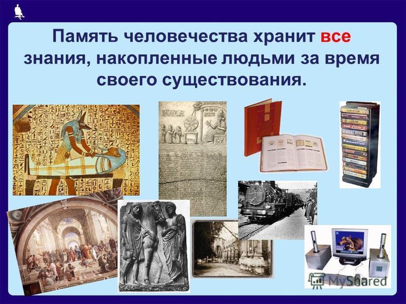 Память человечества хранит все знания, накопленные людьми за время своего существования.