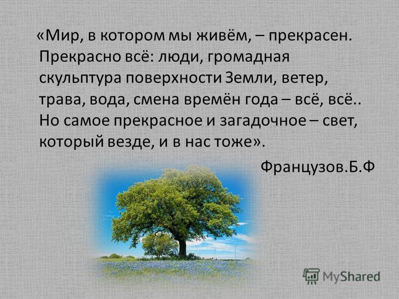 «Мир, в котором мы живём, – прекрасен. Прекрасно всё: люди, громадная скульптура поверхности Земли, ветер, трава, вода, смена времён года – всё, всё.. Но самое прекрасное и загадочное – свет, который везде, и в нас тоже». Французов.Б.Ф